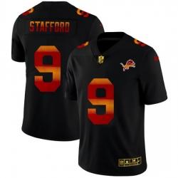 Detroit Lions 9 Matthew Stafford Men Black Nike Red Orange Stripe Vapor Limited NFL Jersey
