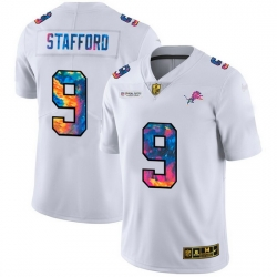 Detroit Lions 9 Matthew Stafford Men White Nike Multi Color 2020 NFL Crucial Catch Limited NFL Jersey