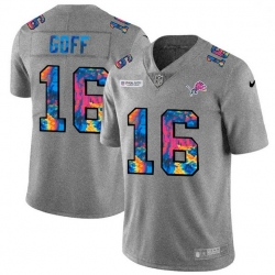 Men Detroit Lions 16 Jared Goff Men Nike Multi Color 2020 NFL Crucial Catch NFL Jersey Greyheather