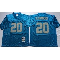 Men Detroit Lions 20 Barry Sanders Blue M&N Throwback Jersey(1)