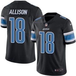 Nike Detroit Lions 18 Geronimo Allison Black Men Stitched NFL Limited Rush Jersey