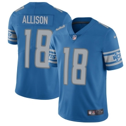 Nike Detroit Lions 18 Geronimo Allison Blue Team Color Men Stitched NFL Vapor Untouchable Limited Jersey