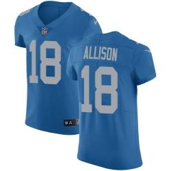 Nike Detroit Lions 18 Geronimo Allison Blue Throwback Men Stitched NFL Vapor Untouchable Elite Jersey