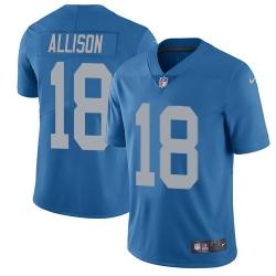 Nike Detroit Lions 18 Geronimo Allison Blue Throwback Men Stitched NFL Vapor Untouchable Limited Jersey