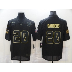 Nike Detroit Lions 20 Barry Sanders Black 2020 Salute To Service Limited Jersey