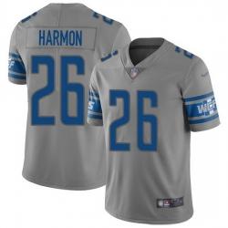 Nike Detroit Lions 26 Duron Harmon Gray Men Stitched NFL Limited Inverted Legend Jersey