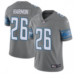 Nike Detroit Lions 26 Duron Harmon Gray Men Stitched NFL Limited Rush Jersey