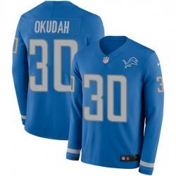 Nike Lions 30 Jeff Okudah Blue Team Color Men Stitched NFL Limited Therma Long Sleeve Jersey