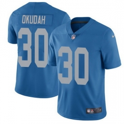 Nike Lions 30 Jeff Okudah Blue Throwback Men Stitched NFL Vapor Untouchable Limited Jersey