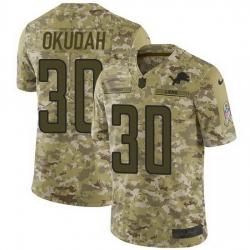 Nike Lions 30 Jeff Okudah Camo Men Stitched NFL Limited 2018 Salute To Service Jersey
