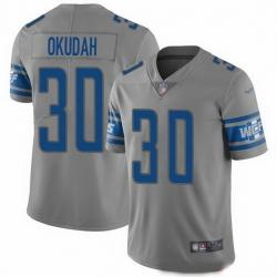 Nike Lions 30 Jeff Okudah Gray Men Stitched NFL Limited Inverted Legend Jersey