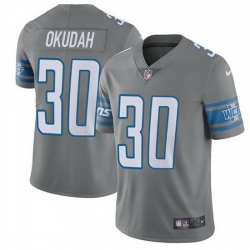Nike Lions 30 Jeff Okudah Gray Men Stitched NFL Limited Rush Jersey