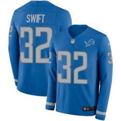 Nike Lions 32 D 27Andre Swift Blue Team Color Men Stitched NFL Limited Therma Long Sleeve Jersey