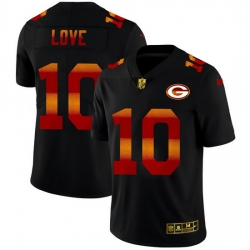 Green Bay Green Bay Green Bay Green Bay Packers 10 Jordan Love Men Black Nike Red Orange Stripe Vapor Limited NFL Jersey