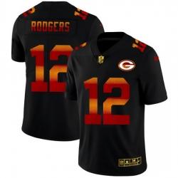 Green Bay Green Bay Green Bay Green Bay Packers 12 Aaron Rodgers Men Black Nike Red Orange Stripe Vapor Limited NFL Jersey