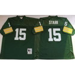 Men Green Bay Green Bay Packers 15 Bart Starr Green M&N Throwback Jersey