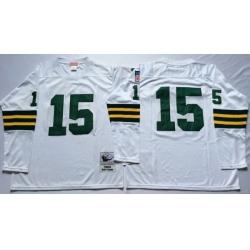 Men Green Bay Green Bay Packers 15 Bart Starr White Long Sleeve M&N Throwback Jersey