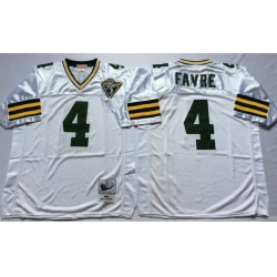 Men Green Bay Green Bay Packers 4 Brett Favre White M&N Throwback Jersey