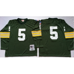 Men Green Bay Green Bay Packers 5 Paul Hornung Green Long Sleeve M&N Throwback Jersey