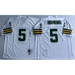 Men Green Bay Green Bay Packers 5 Paul Hornung White M&N Throwback Jersey