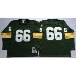 Men Green Bay Green Bay Packers 66 Ray Nitschke Green Long Sleeve M&N Throwback Jersey