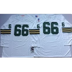 Men Green Bay Green Bay Packers 66 Ray Nitschke White Long Sleeve M&N Throwback Jersey