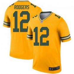 Men Nike Green Bay Packers 12 Aaron Rodgers Legend Gold Jersey