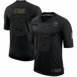 Men Nike Green Bay Packers 15 Bart Starr 2020 Salute To Service Limited Jersey