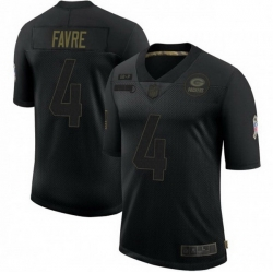 Men Nike Green Bay Packers 4 Brett Favre 2020 Black Vapor Limited Jersey