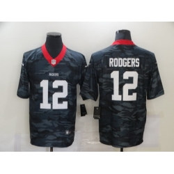 Nike Green Bay Green Bay Packers 12 Aaron Rodgers Black Camo Limited Jersey