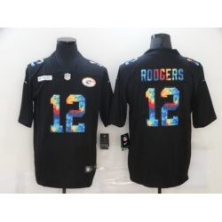 Nike Green Bay Green Bay Packers 12 Aaron Rodgers Black Vapor Untouchable Rainbow Limited Jersey