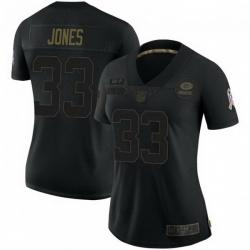 Women Nike Green Bay Packers 33 Aaron Jones 2020 Black Salute To Service Jersey
