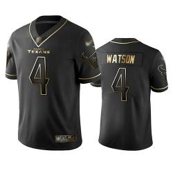 Texans 4 Deshaun Watson Black Men Stitched Football Limited Golden Edition Jersey