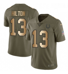 Men Nike Indianapolis Colts 13 TY Hilton Limited OliveGold 2017 Salute to Service NFL Jersey