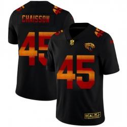 Jacksonville Jaguars 45 K 27Lavon Chaisson Men Black Nike Red Orange Stripe Vapor Limited NFL Jersey