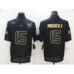 Nike Jacksonville Jaguars 15 Gardner Minshew II Black 2020 Salute To Service Limited Jersey