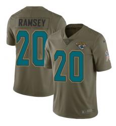 Nike Jaguars #20 Jalen Ramsey Olive Mens Stitched NFL Limited 2017 Salute to Service Jersey
