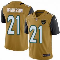 Nike Jaguars 21 C J  Henderson Gold Men Stitched NFL Limited Rush Jersey