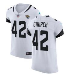 Nike Jaguars #42 Barry Church White Mens Stitched NFL Vapor Untouchable Elite Jersey