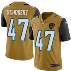 Nike Jaguars 47 Joe Schobert Gold Men Stitched NFL Limited Rush Jersey
