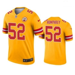 Men Kansas City Chiefs 52 Creed Humphrey Gold Inverted Legend Jersey