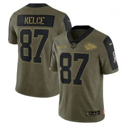 Men's Kansas City Chiefs Travis Kelce Nike Olive 2021 Salute To Service Limited Player Jersey