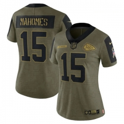 Women's Kansas City Chiefs Patrick Mahomes Nike Olive 2021 Salute To Service Limited Player Jersey