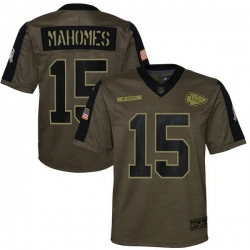 Youth Kansas City Chiefs Patrick Mahomes Nike Olive 2021 Salute To Service Game Jersey