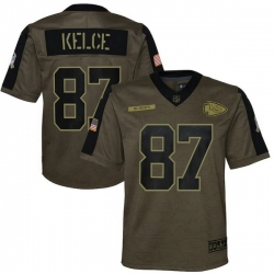 Youth Kansas City Chiefs Travis Kelce Nike Olive 2021 Salute To Service Game Jersey