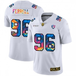 Las Vegas Raiders 96 Clelin Ferrell Men White Nike Multi Color 2020 NFL Crucial Catch Limited NFL Jersey