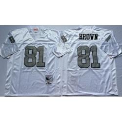 Men Las Vegas Raiders 81 Tim Brown White Silver M&N Throwback Jersey