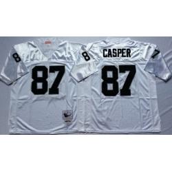Men Las Vegas Raiders 87 Dave Casper White M&N Throwback Jersey