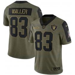 Men Las Vegas Raiders Darren Waller 83 Nike Olive 2021 Salute To Service Limited Jersey