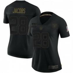 Women Las Vegas Raiders 28 Josh Jacobs Black Limited 2020 Salute To Service Jersey